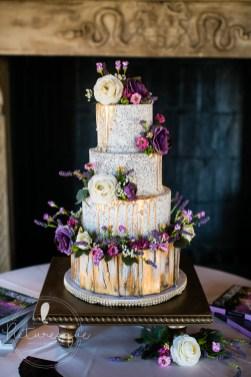edible wood plank english garden wedding cake