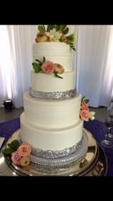 silver sequins wedding cake