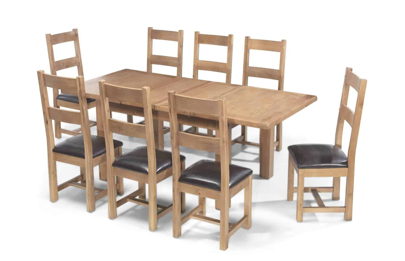 8 Chair Dining Set Aylesbury Solid Wood Rustic Oak Large Extending Dining Table With 8 Chairs