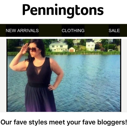"""Penningtons featured MsLindsayM in one of their """"Fave Styles"""" newsletters in July 2016."""