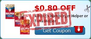 $0.80 off 4 BOXES Hamburger Helper or Tuna Helper