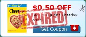 $0.50 off ONE BOX Original Cheerios cereal