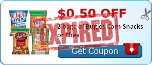 $0.50 off 2 bags of Bugles Corn Snacks or Chex