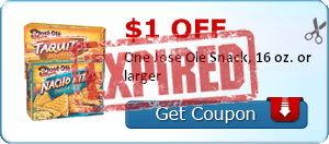 $1.00 off One Jose Ole Snack, 16 oz. or larger