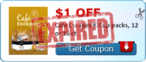 $1.00 off Cafe Escapes K-Cup packs, 12 or 16 ct