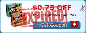 $0.75 off any El Monterey Taquitos