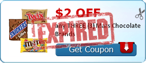 $2.00 off any THREE (3) Mars Chocolate Brands