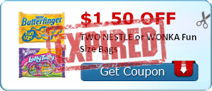 $1.50 off TWO NESTLE or WONKA Fun Size Bags