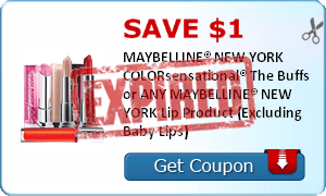 SAVE $1.00 MAYBELLINE® NEW YORK COLORsensational® The Buffs or ANY MAYBELLINE® NEW YORK Lip Product (Excluding Baby Lips)