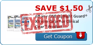 SAVE $1.50 off any ONE (1) Right Guard® Xtreme Clear® or Clinical Clear™ Product