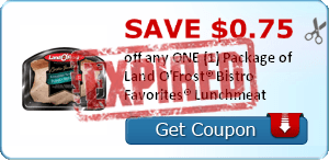 SAVE $0.75 off any ONE (1) Package of Land O'Frost® Bistro Favorites® Lunchmeat