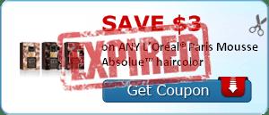SAVE $3.00 on ANY L'Oréal® Paris Mousse Absolue™ haircolor