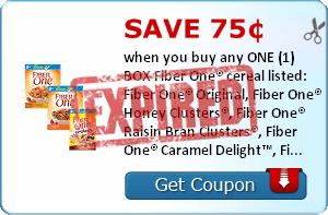 Save 75¢ when you buy any ONE (1) BOX Fiber One® cereal listed:  Fiber One® Original, Fiber One® Honey Clusters®, Fiber One® Raisin Bran Clusters®, Fiber One® Caramel Delight™, Fiber One® 80 Calories Chocolate, Fiber One® Frosted Shredded Wheat, Fiber One