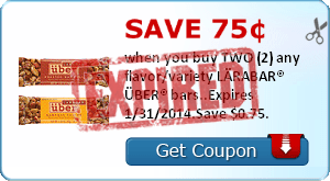 Save 75¢ when you buy TWO (2) any flavor/variety LÄRABAR® ÜBER® bars..Expires 1/31/2014.Save $0.75.