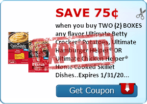 Save 75¢ when you buy TWO (2) BOXES any flavor Ultimate Betty Crocker® Potatoes, Ultimate Hamburger Helper® OR Ultimate Chicken Helper® Home Cooked Skillet Dishes..Expires 1/31/2014.Save $0.75.
