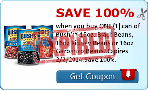 Save 100% when you buy ONE (1) can of Bush's® 15oz. Black Beans, 16oz Kidney Beans or 16oz Garbanzo Beans..Expires 2/2/2014.Save 100%.