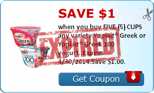 Save $1.00 when you buy FIVE (5) CUPS any variety Yoplait® Greek or Yoplait® Greek 100 yogurt..Expires 4/30/2014.Save $1.00.