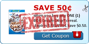 Save 50¢ when you buy any ONE (1) BOX Cookie Crisp® cereal. .Expires 5/31/2014.Save $0.50.