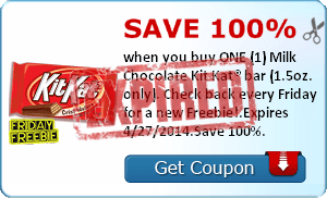 Save 100% when you buy ONE (1) Milk Chocolate Kit Kat® bar (1.5oz. only). Check back every Friday for a new Freebie!.Expires 4/27/2014.Save 100%.