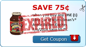 Save 75¢ when you buy any ONE (1) 28oz. jar of Musselman's® Apple Butter.Expires 7/6/2014.Save $0.75.