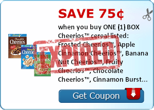 Save 75¢ when you buy ONE (1) BOX Cheerios™ cereal listed: Frosted Cheerios™, Apple Cinnamon Cheerios™, Banana Nut Cheerios™, Fruity Cheerios™, Chocolate Cheerios™, Cinnamon Burst Cheerios™, Dulce de Leche Cheerios™..Expires 7/31/2014.Save $0.75.