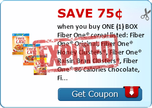 Save 75¢ when you buy ONE (1) BOX Fiber One® cereal listed: Fiber One® Original, Fiber One® Honey Clusters®, Fiber One® Raisin Bran Clusters®, Fiber One® 80 Calories Chocolate, Fiber One® 80 Calories, Fiber One® Nutty Clusters & Almonds, Fiber One® Protei