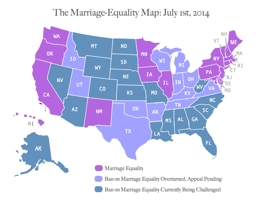 The Marriage Equality Map, July 2014