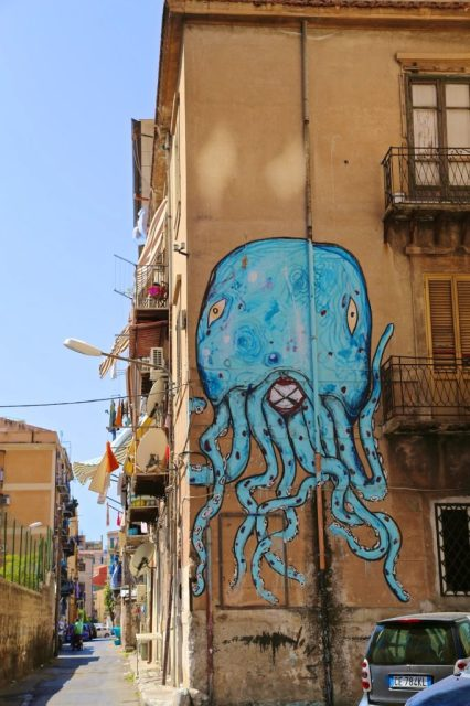 Mural on side of building, Palermo, Sicily