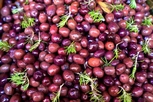 Black olives with rosemary, Palermo, Sicily