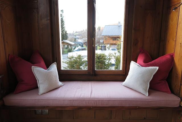 window seat, villa rose hotel, samoens, Alps, France