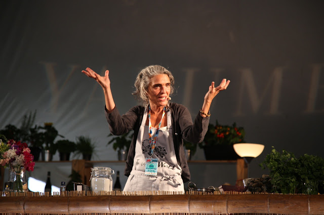 Lula Pena talking about Portuguese food and music. Womad.