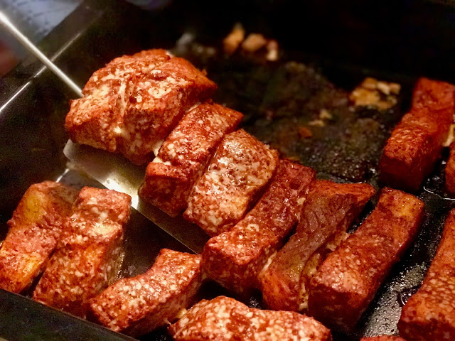 achiote and orange roasted salmon for tacos