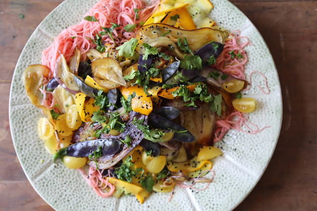 Rainbow vegetables with soba noodles pic: Kerstin Rodgers