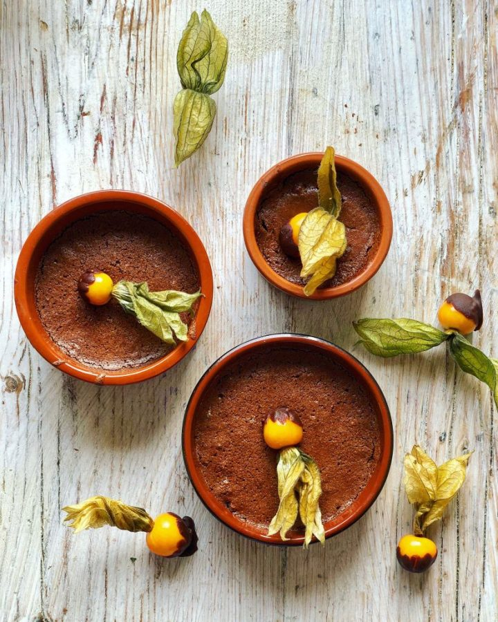 Orange chocolate mousse with chocolate dipped physalis pic: Kerstin Rodgers/msmarmitelover.com
