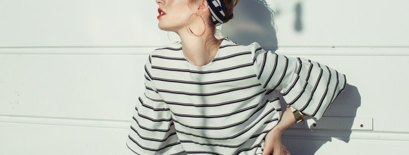 Stripes, Nautical, Scarf, Head Wrap, Malibu Beach, Curls, Hair Inspo,