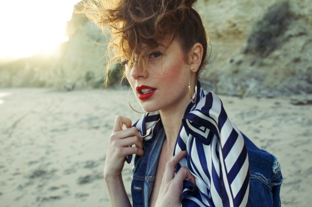 Beach, Beauty, Lifestyle, Fashion, Scarf, Stripes, Red Lip, Hoods, Distressed Denim, Curls, Unique Hair Styles,