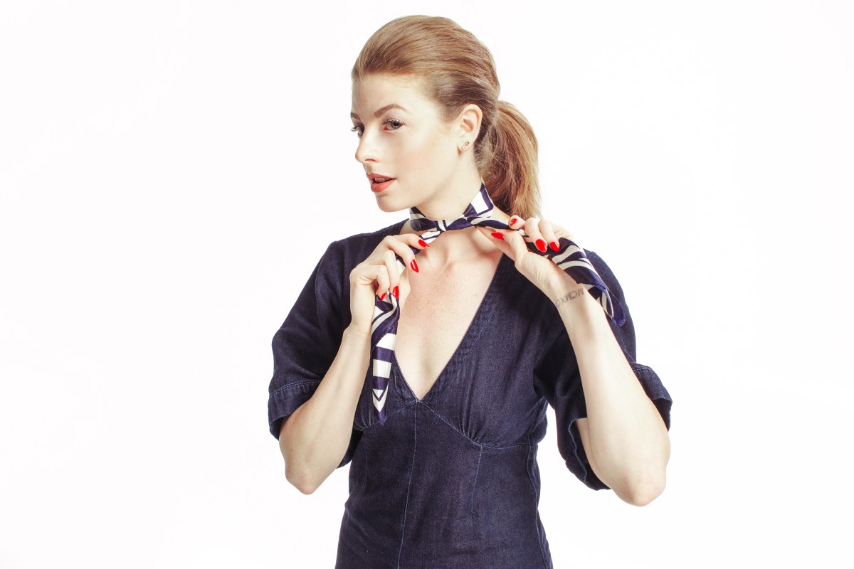 Nautical, Stripes, Denim Jumpsuit, Trends, Paul Mitchell, Red White and Blue, Stripes, Silk Scarf Tutorial, Hair Tutorial, Maverick, Muse,