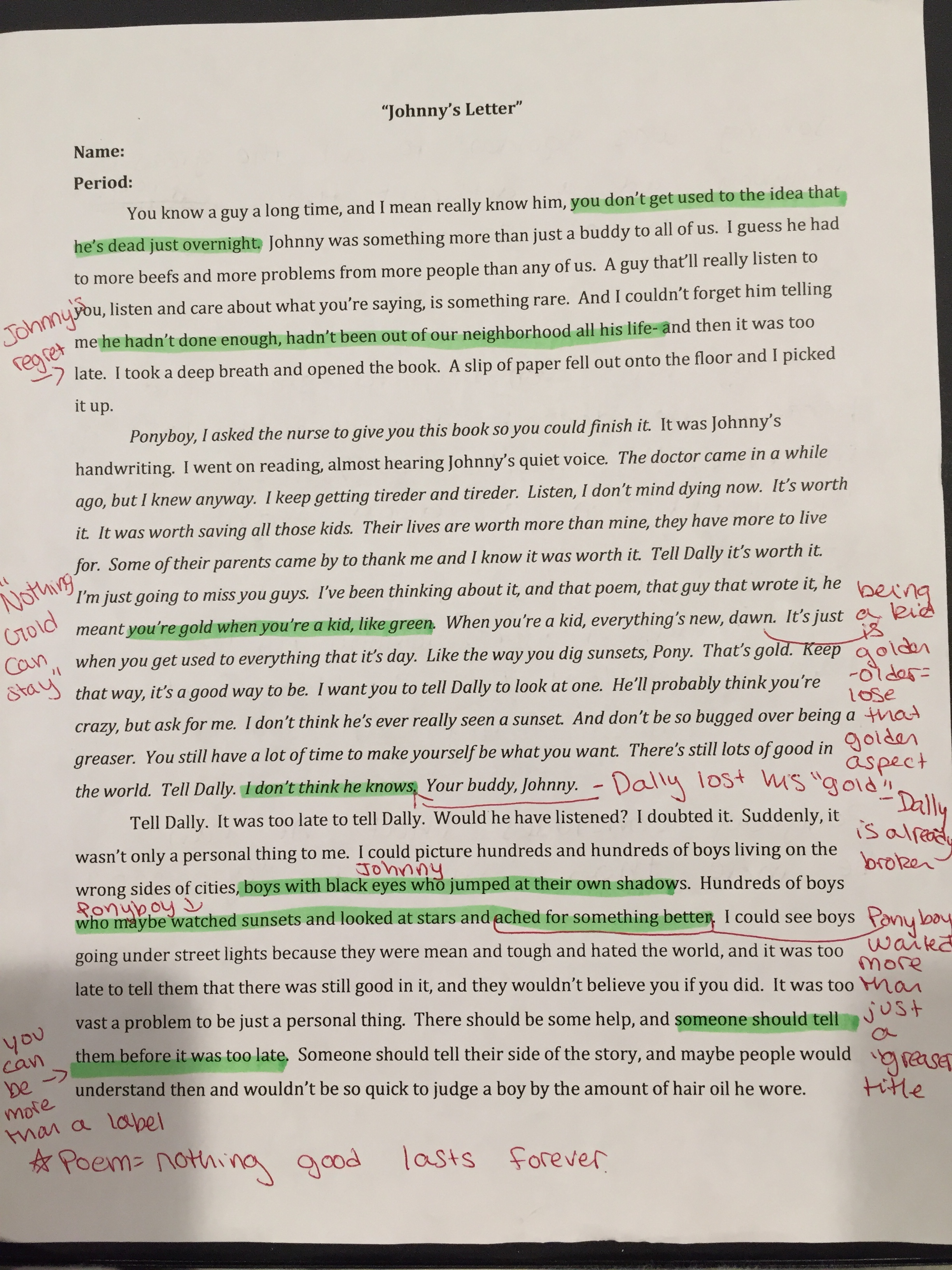 Reading Comprehension Worksheet The Outsiders
