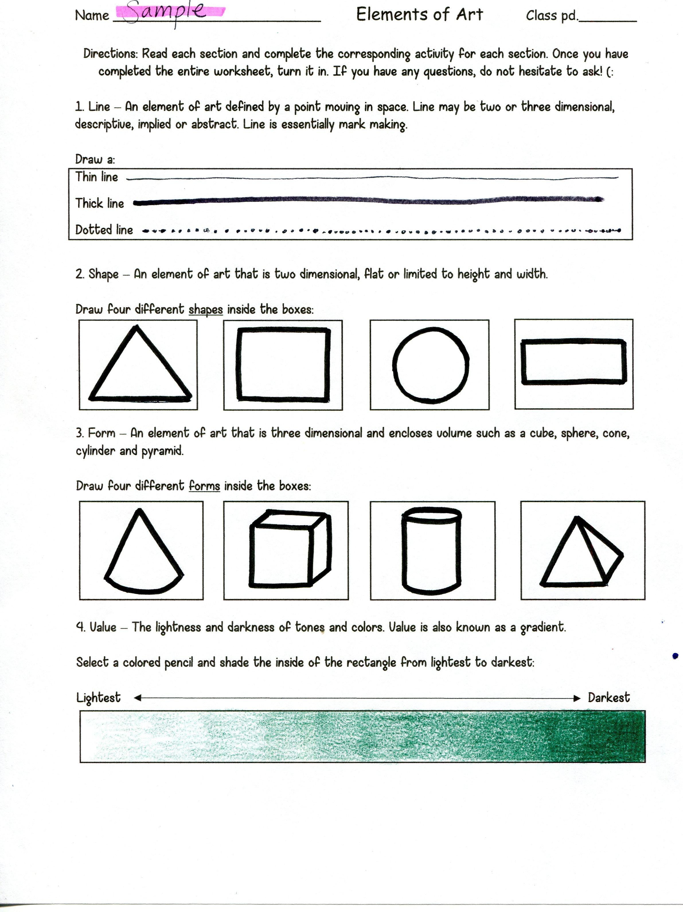 Principles Of Art Worksheet