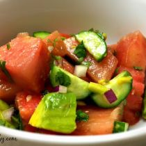 watermelon, cucumber & avocado salad