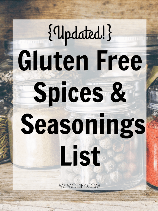 Gluten Free Spices & Seasonings List