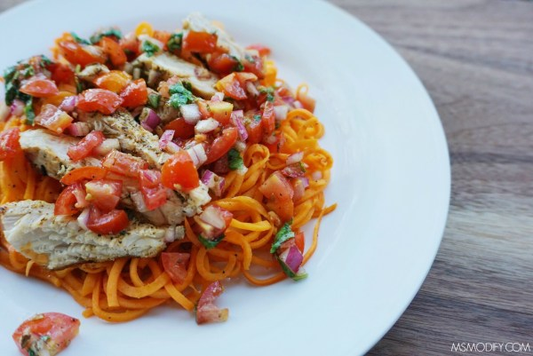"Grilled Chicken Bruschetta ""Pasta"""