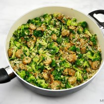 One Skillet Sausage Broccoli & Cauliflower Rice