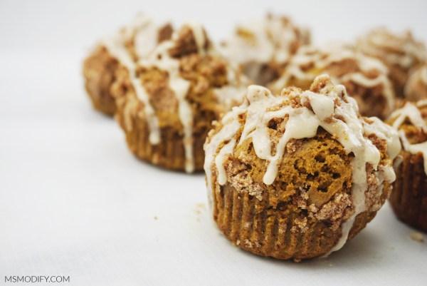 Gluten Free Pumpkin Streusel Muffins with Maple Glaze