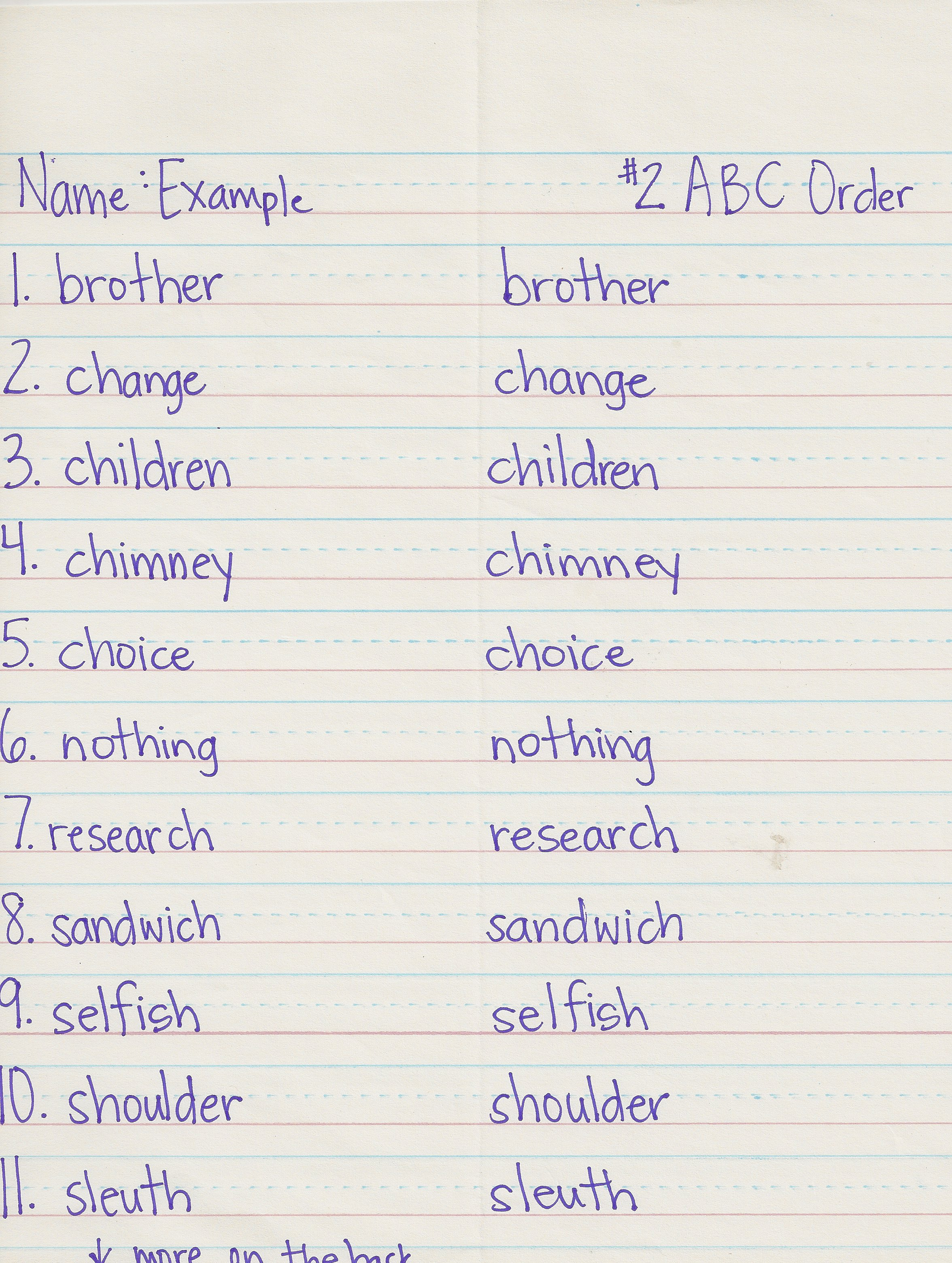 Spelling Words In Alphabetical Order