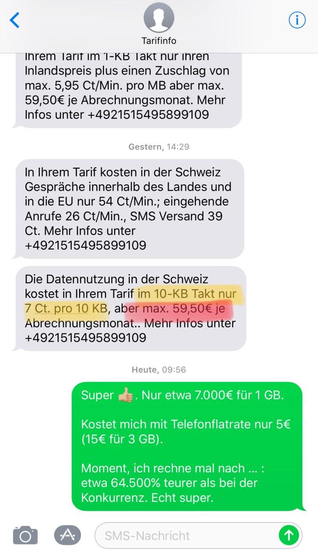 Bildschirmfoto meiner SMS-Antwort