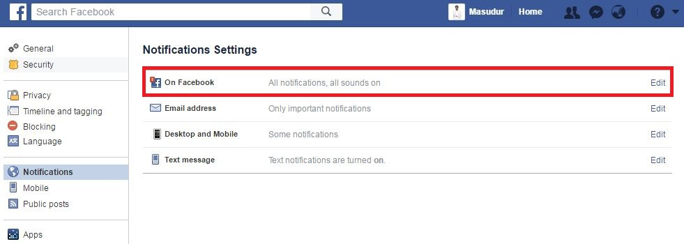 Find facebook birthday notification setting