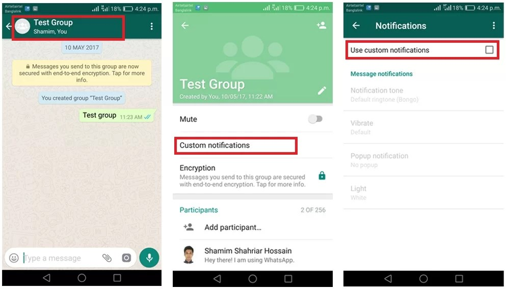 img customize specific whatsapp chat notificaitons