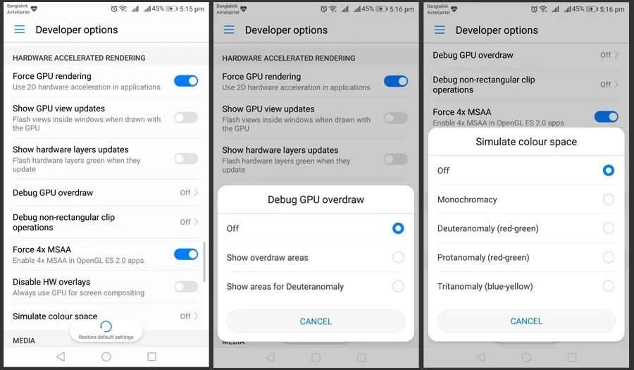Android Developer Options for Hardware Accelerated Rendering