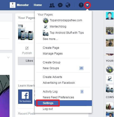 access Facebook profile setting